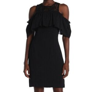 Trina Turk Ruffle Cold Shoulder Lace Knit Dress 4